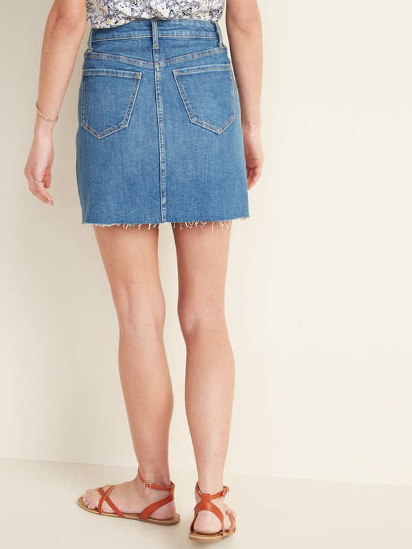 ON Denim High-Rise Frayed-Hem Jean Skirt For Women - Alabama
