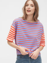Gap Boxy Stripe T-Shirt - Azul