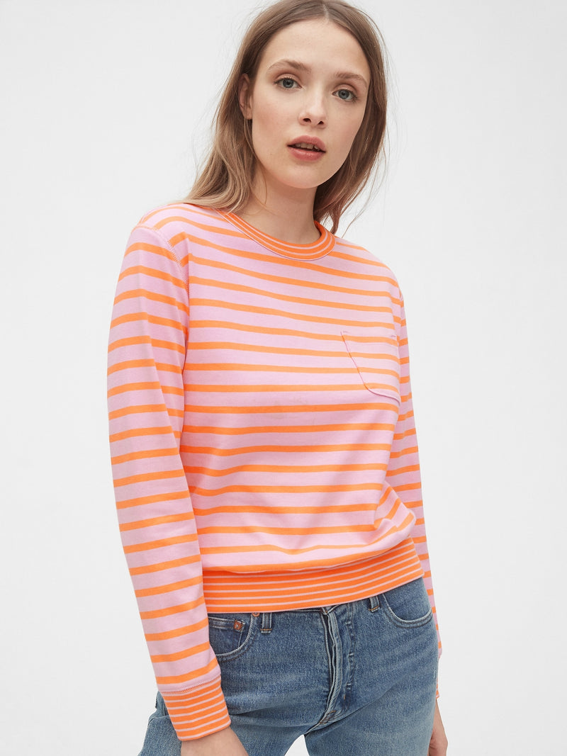 Gap Long Sleeve Pocket T-Shirt - Rosado