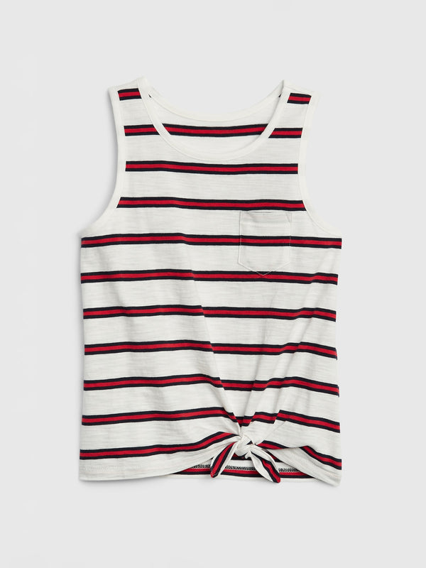 GAP Kids Tie Tank Top - Navy Red Stripe