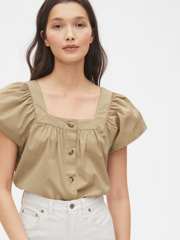 Gap Squareneck Button-Front Top - Khaki