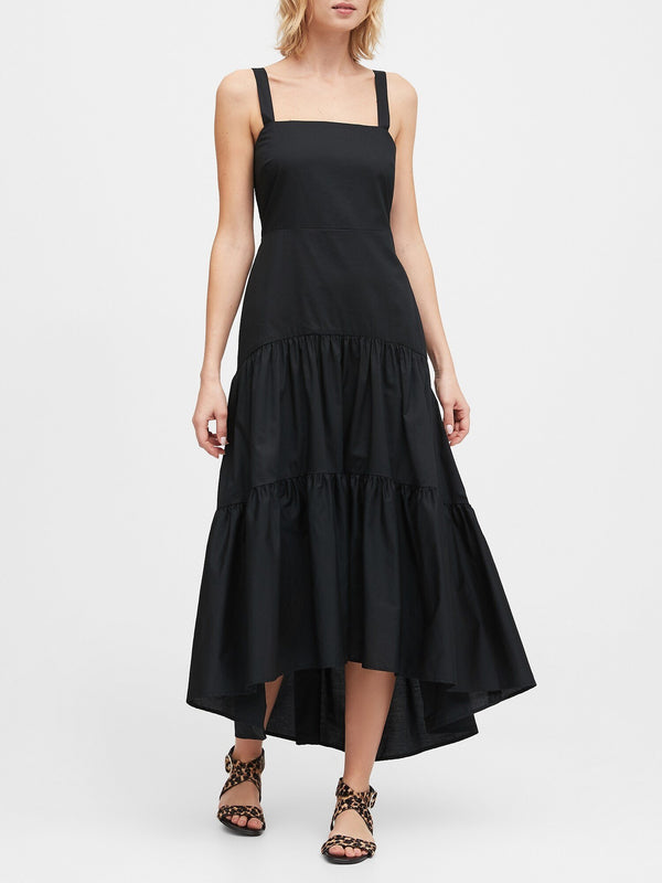 Vestido Tiered Maxi Solid-Black