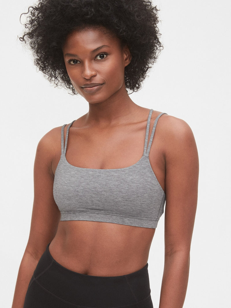 Gap Gapfit Breathe Low Support Strappy Sports Bra - Medium Grey Heather