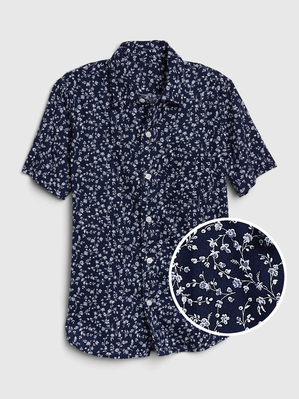 Kids Short Sleeve Shirt - Navy Ditsy Floral