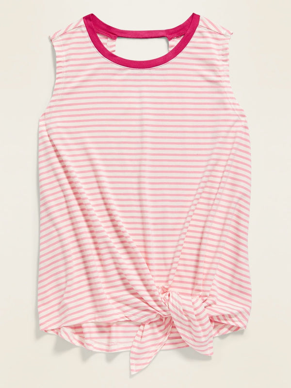 ON Camiseta Luxe Tie-Hem Sleeveless Top For Girls - Guava Heart