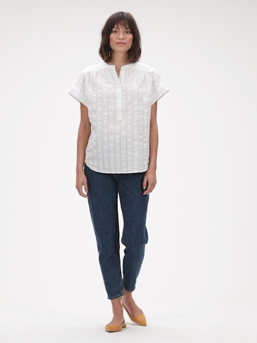 Gap Shirred Popover Shirt - Blanco