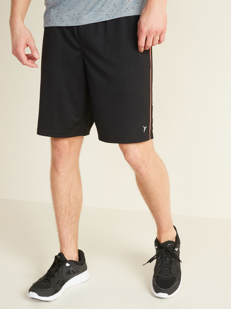 ON Go-Dry Mesh Neon-Piping Performance Shorts For Men -- 9-Inch Inseam - Negro Jack