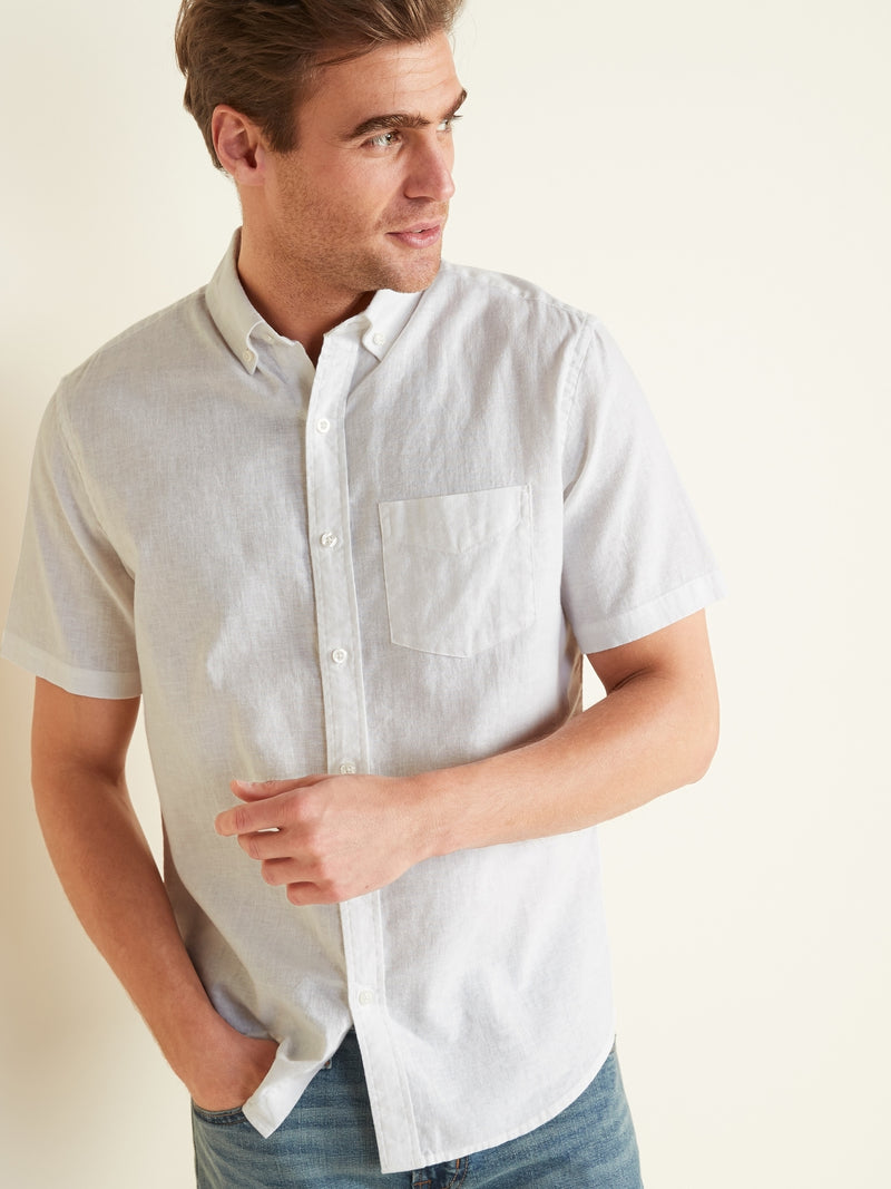 ON Camisa Relaxed-Fit Linen-Blend Short-Sleeve Shirt for Men - Calla Lily