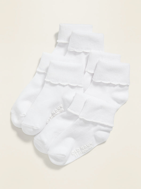 ON Accesorio Turn-Cuff Socks 4-Pack For Toddler & Baby - Blanco Combo