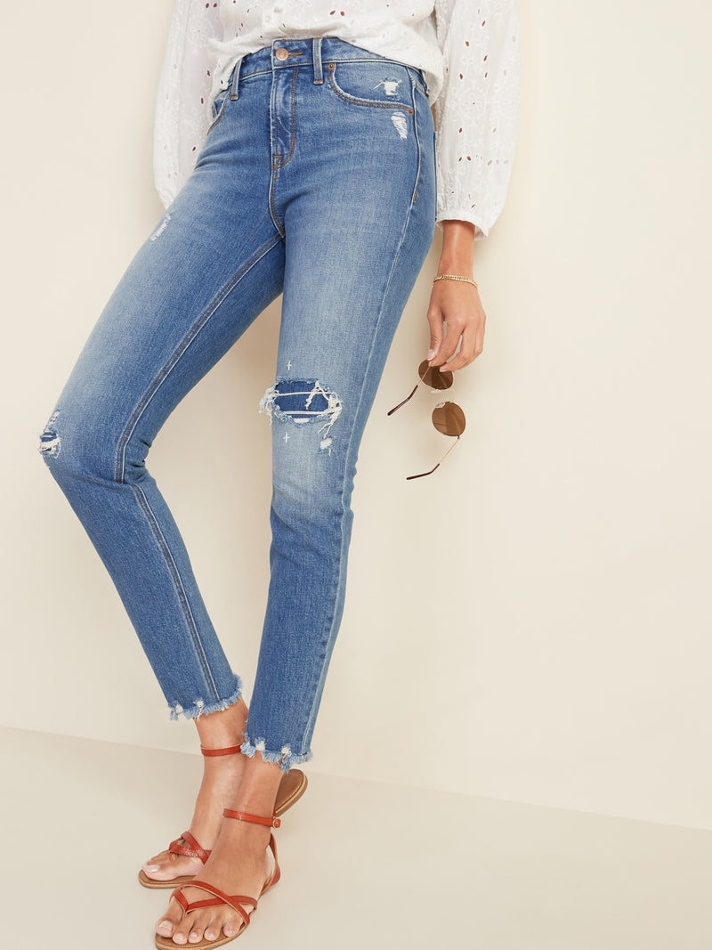 ON Denim High-Waisted Power Slim Straight Raw-Edge Jeans for Women - Maria