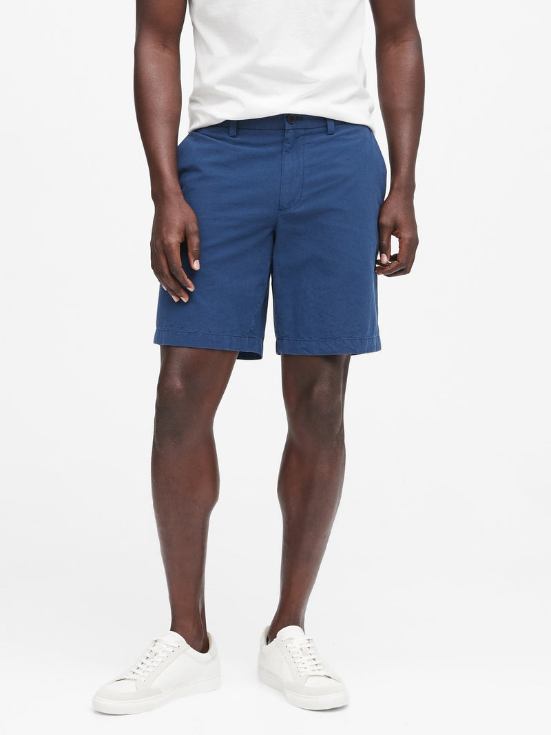 Shorts-Aiden 9 Linen Solid-Navy