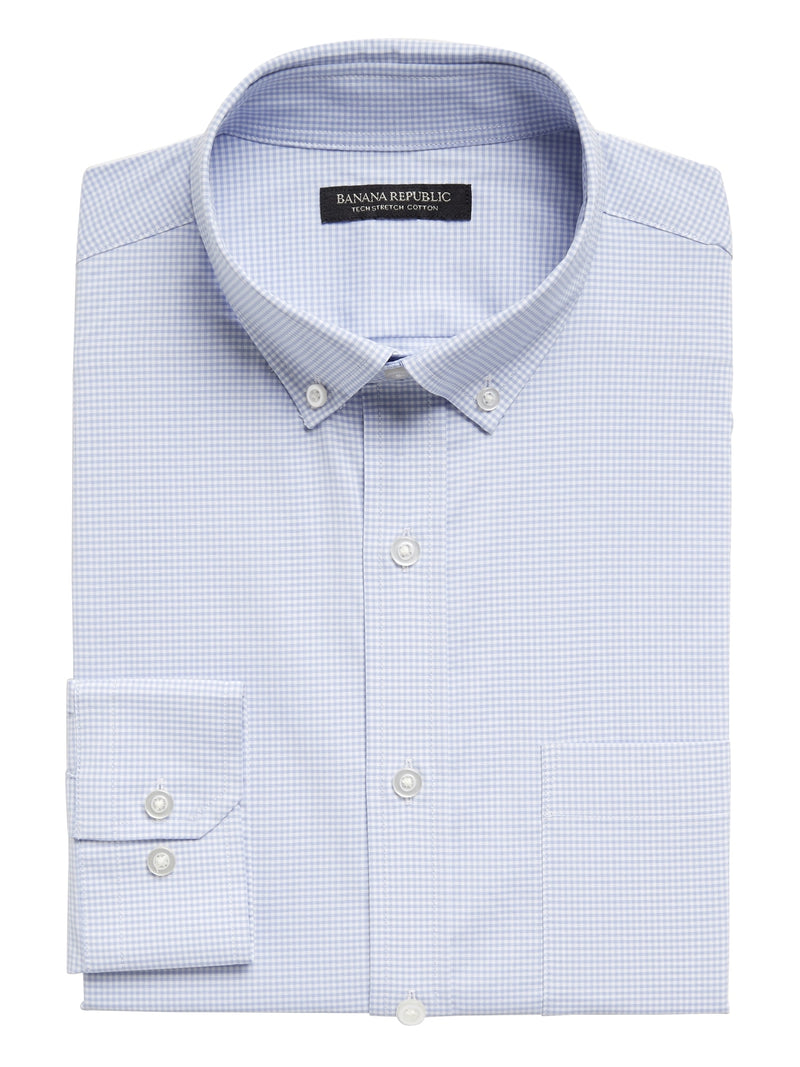 BR Slim-Fit Tech-Stretch Cotton Shirt - Light Azul