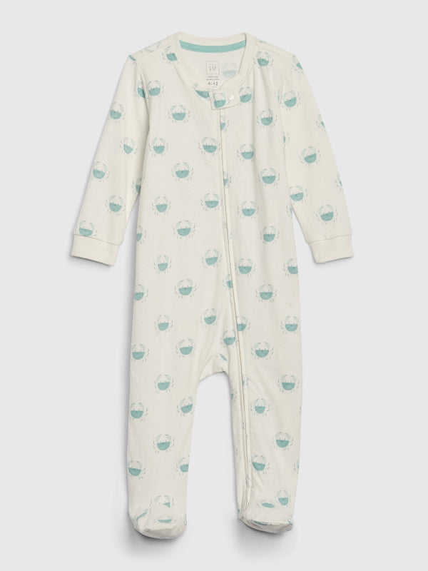 GAP Baby Organic Footed One-Piece - Ivory Frost