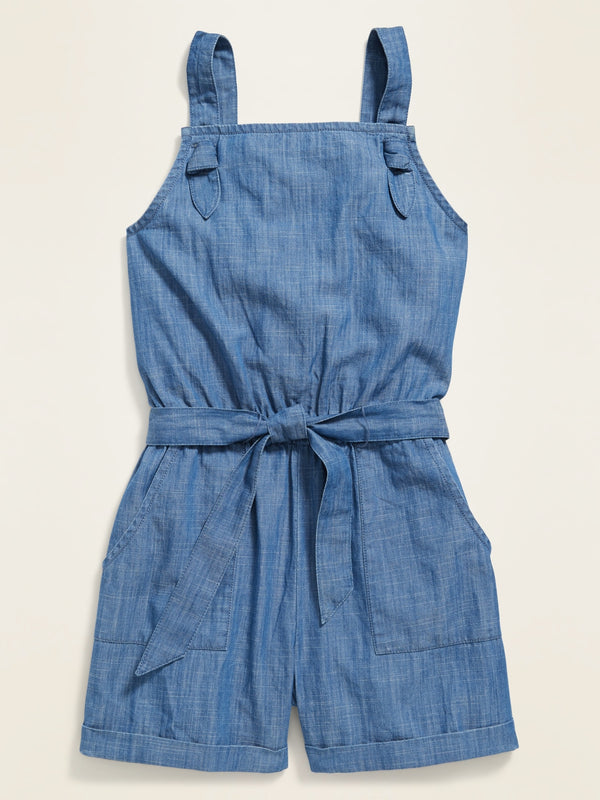 ON Vestido Chambray Utility Romper for Girls - Chambray Azul