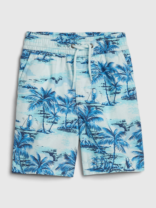 GAP Toddler Print Poplin Pull-On Shorts - Glass Of Water