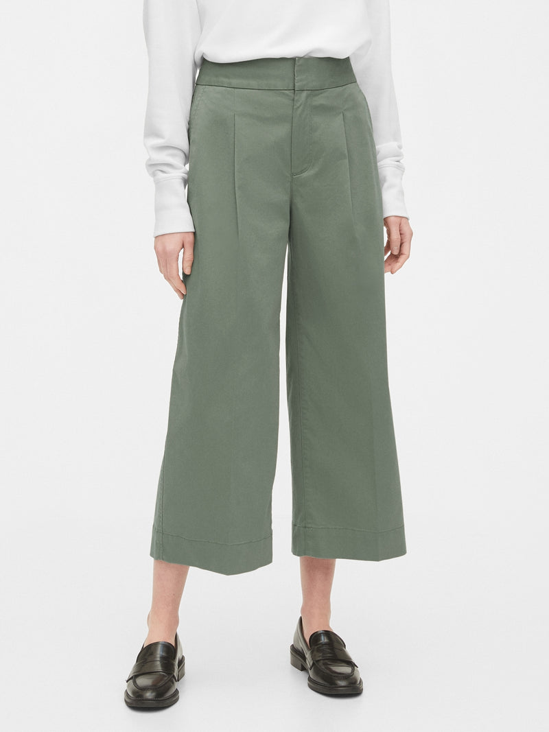 Gap High Rise Wide-Leg Khaki Pants - Winter Forest