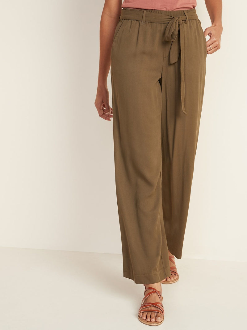 ON Pantalón High-Waisted Tie-Belt Soft Pants For Women - Salamander