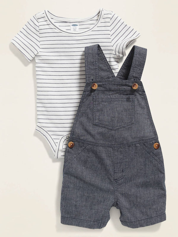 OnePiece Bodysuit & Overalls Set For Baby - Navy Rayas