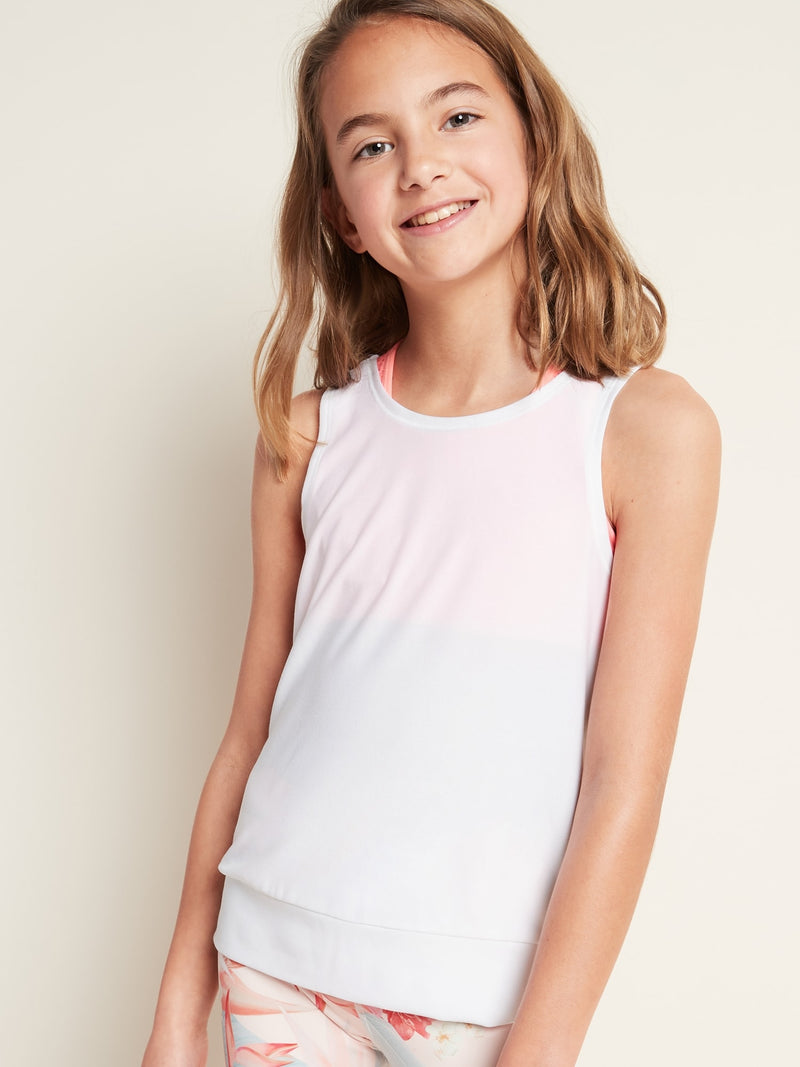 ON Breathe On Tie-Back Tank Top For Girls - Calla Lily