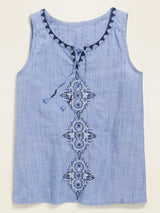 ON Sleeveless Embroidered Tassel-Tie Top for Girls - Chambray Azul