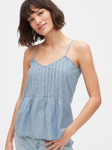 Gap Pintuck Cami - Light Indigo