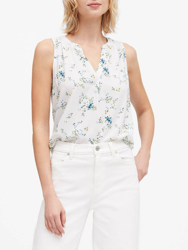 Camisa sin Manga- Viscose Top Prints-White Floral