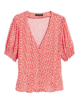 Camisa Manga Corta Covered Button Front Top Viscose Prin-Warm Ditsy Floral