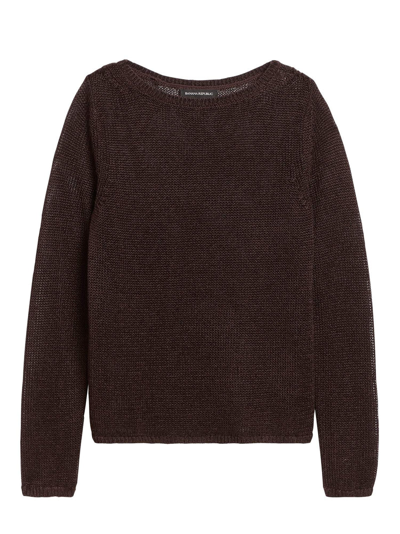 BR Sudadera Linen-Blend Boat-Neck Sweater - Chocolate Deep