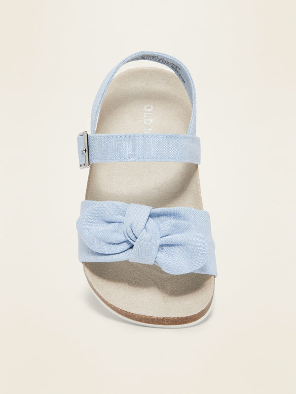 ON Zapatos Canvas Bow-Tie Sandals for Toddler Girls - Light Tone Chambray