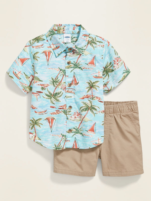 ON Printed Button-Front Shirt & Solid Shorts Set for Baby - Azul Hawaiian