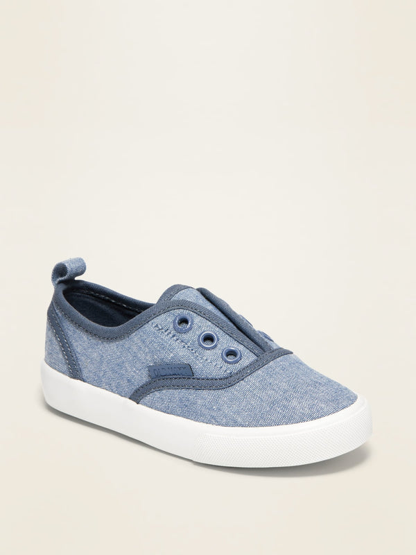 ON Piped-Trim Canvas Slip-On Sneakers For Toddler Boys - Chambray Blue