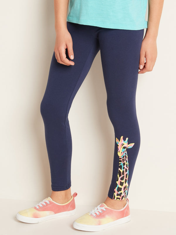 ON Pantalón Printed Built-In Tough Full-Length Leggings for Girls - Azul Giraffe