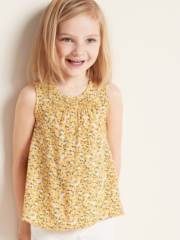ON Camisa Sleeveless Smocked A-Line Top for Toddler Girls - Amarillo Floral