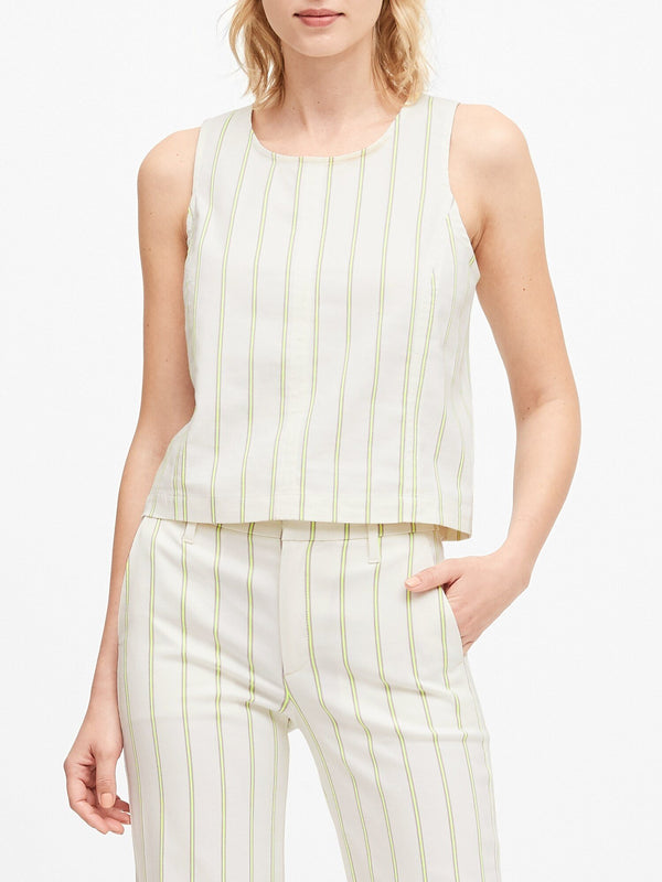 Camisa sin Manga Shell Stripe-White With Yellow Stri