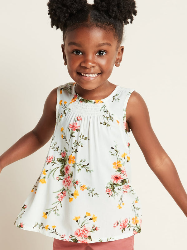 ON Camisa Sleeveless Smocked A-Line Top for Toddler Girls - Blanco Floral
