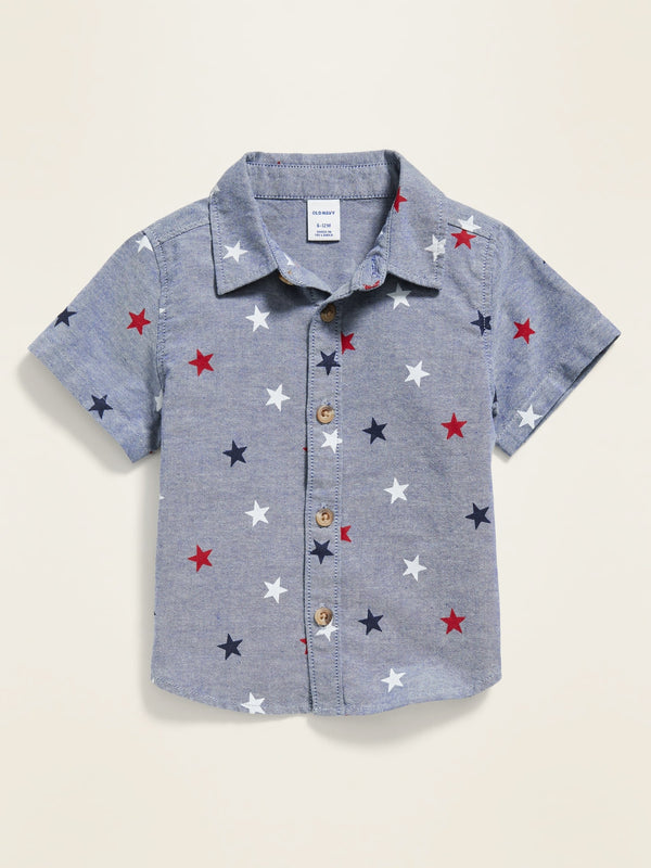 ON Camisa Americana-Print Oxford Shirt for Baby - Stars