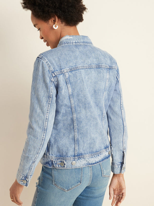 Jacket-Destructed Denim -Medium Wash