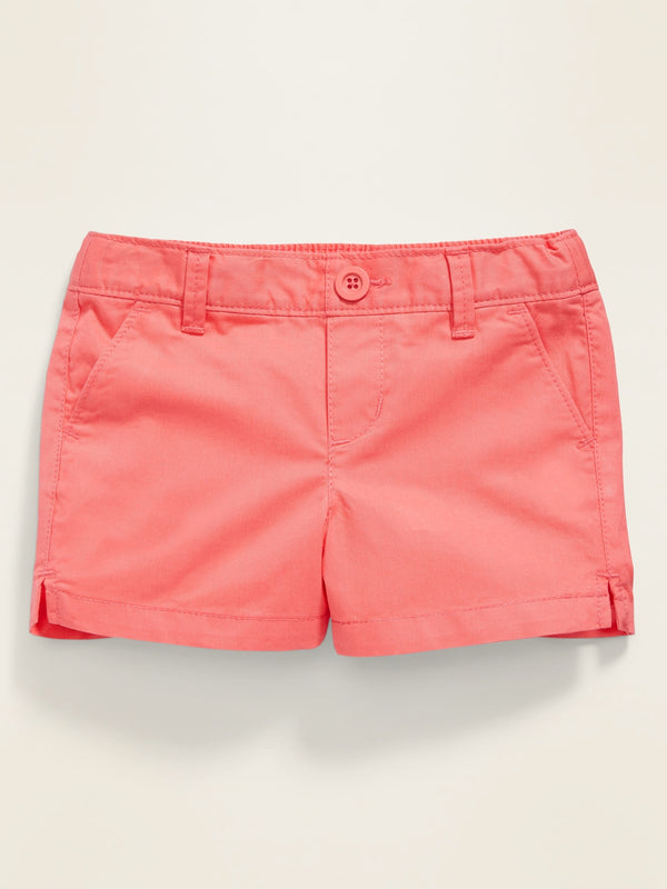 ON Pull-On Twill Shorts for Toddler Girls - Coral Tropics