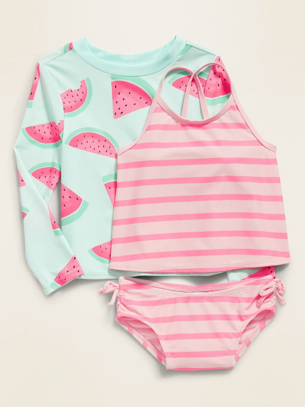 ON Traje de Baño Rashguard & Tankini 3-Piece Swim Set for Toddler Girls - Mini Mint