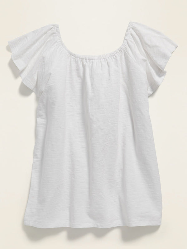 Camiseta Flutter-Sleeve Jersey Top For Girls - Calla Lily