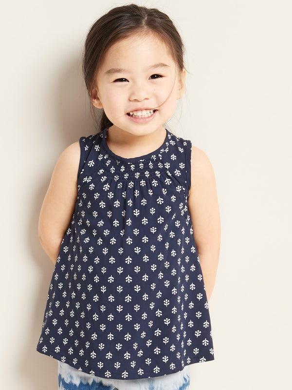ON Camisa Sleeveless Smocked A-Line Top for Toddler Girls - Lost At Sea Navy