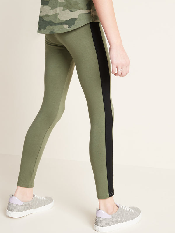 ON Pantalón Built-In Tough Full-Length Side-Stripe Leggings for Girls - Olive Through This