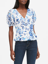 Camisa Manga Corta Covered Button Front Top Print Crinkl-Blue Floral