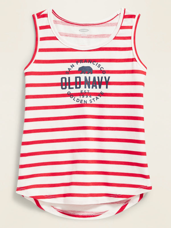 ON Logo-Graphic Tank Top For Toddler Girls - Red Stripe