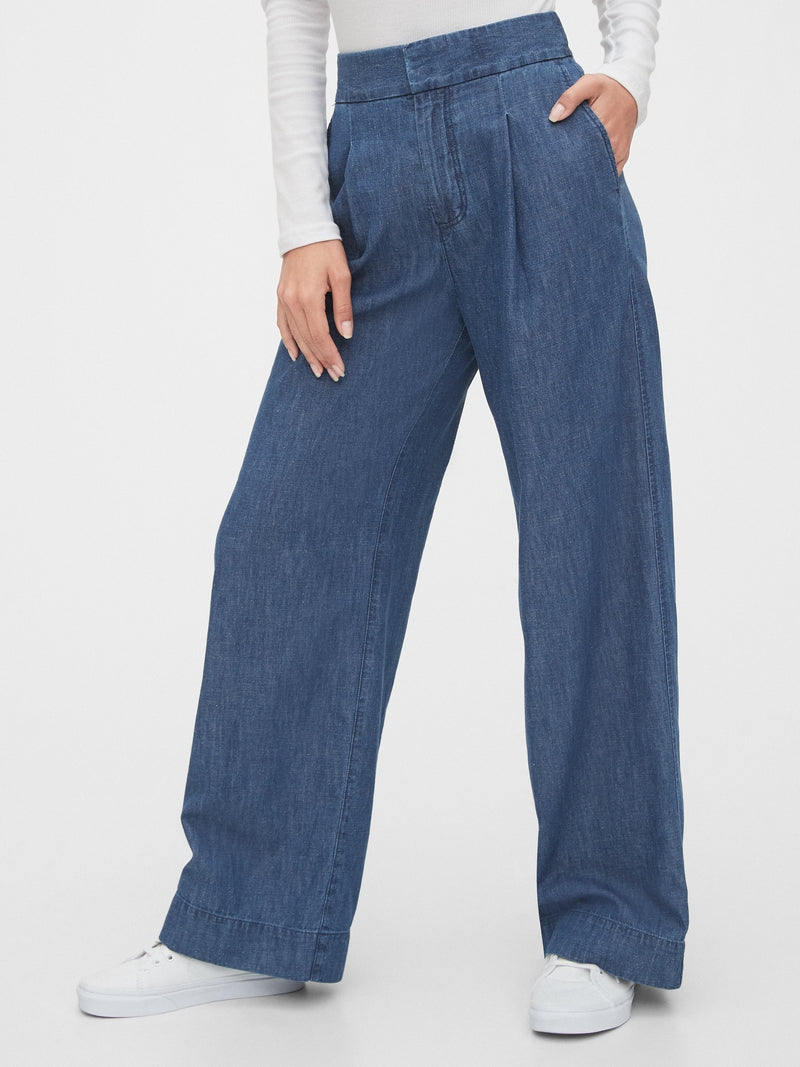 Gap High Rise Wide-Leg Pants - Indigo