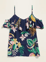ON Soft-Woven Ruffled Cold-Shoulder Cami for Women - Navy Floral