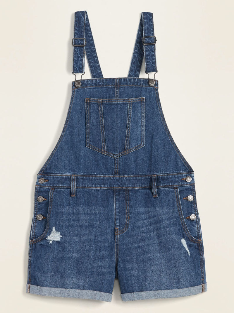ON Denim Distressed Jean Shortalls For Women - Dark Wash