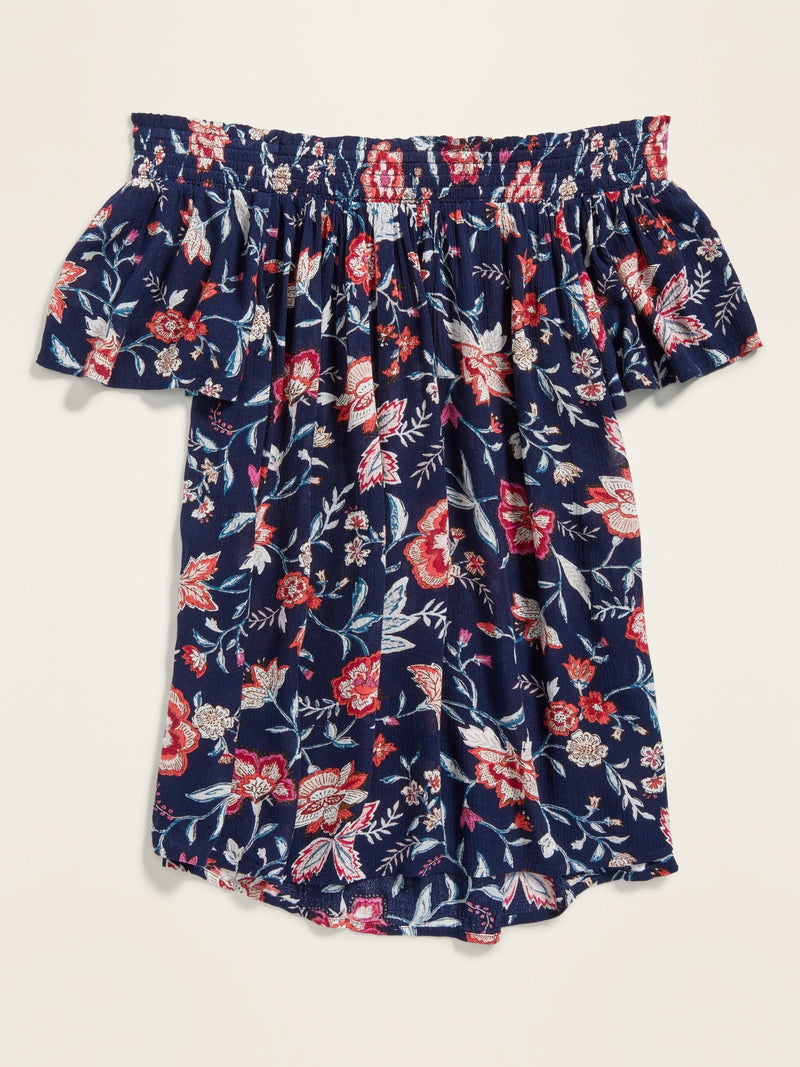 ON Floral-Print Off-the-Shoulder Crinkle-Crepe Blouse for Women - Navy Floral