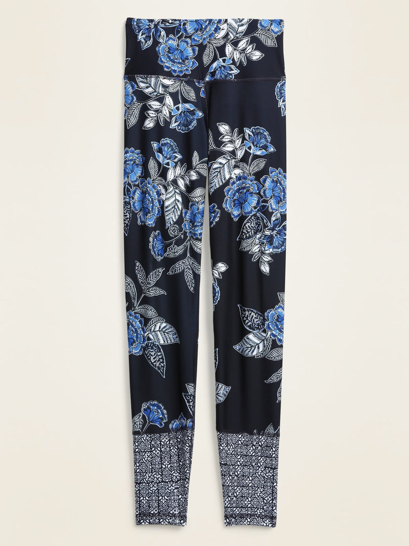 ON Ejercicio High-Waisted Elevate 7/8-Length Floral-Print Leggings for Women - Navy Floral