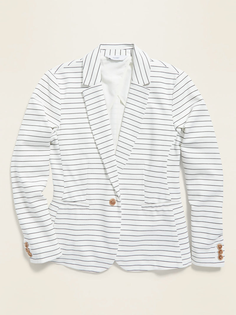ON Pinstriped Ponte-Knit Blazer for Women - Negro Blanco Rayas